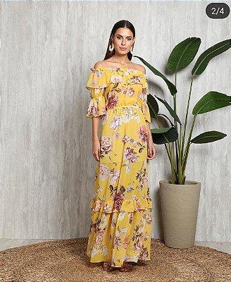 Vestido Rica Longo crepe de seda
