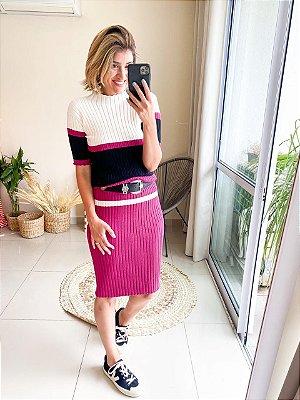 Vestido tricot tricolor