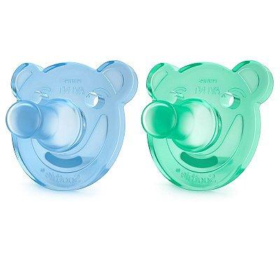 Chupeta Soothie Azul e Verde - de 0 a 3 meses - 2 unidades - Philips Avent