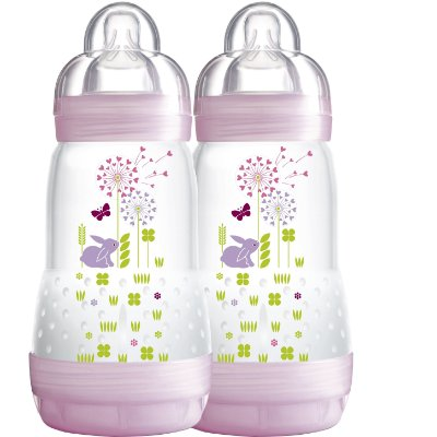 Kit com 2 Mamadeiras Easy Start - First Bottle - 260ML - GIRLS - MAM-4674