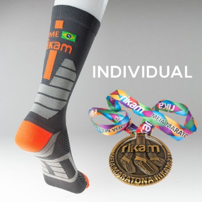 Kit Individual Meia Maratona Rikam (1 Meia + 1 Medalha)