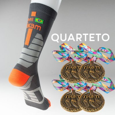 Kit Quarteto Meia Maratona Rikam (4 Meias + 4 Medalhas)