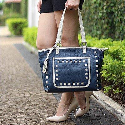 Bolsa Feminina de Couro Legítimo Ágata Azul