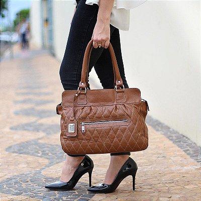 de9d8496b Bolsa Feminina de Couro Legítimo Susan Preta com Caramelo - Bolsas ...