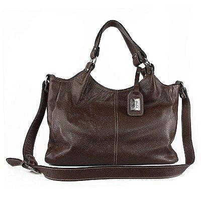Bolsa de Couro Legítimo Elizabeth Marrom Absolut Leather com Bolso Externo