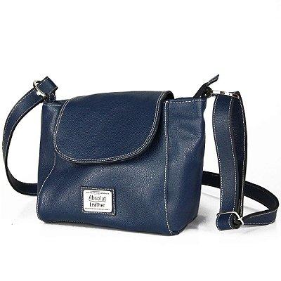 Bolsa de Couro Legítimo Jessie, azul escuro
