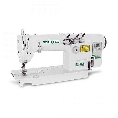 Maquina Reta Ponto Corrente 3 Agulhas 1/4  com Motor Direct Drive Zoje ZJ-3830-P-BD - 220 V