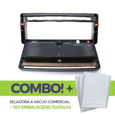Seladora a Vácuo Comercial + 100 embalagens 15x20