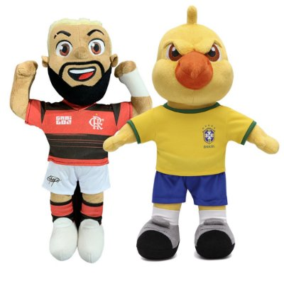 Mascote Canarinho Pistole e Boneco do Gabigol