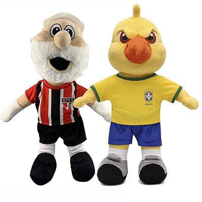Pelúcia Mascote Olimpíadas Rio 2016 e Canarinho Seleção Brasileira