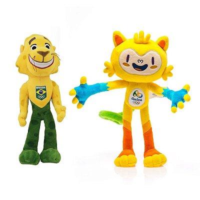 Vinícius e Ginga Mascotes Olímpicos Pelúcia 30cm