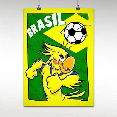 Pôster Bandeira do Brasil Mascote Cacá