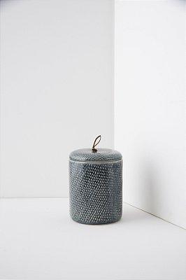 pote de cerâmica indigo blue M