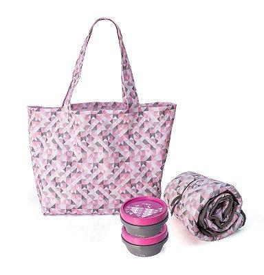 Kit pet contendo 1 bolsa, 1 pote para água 0,4l, 1 porta ração 0,4l e 1 colchonete portátil