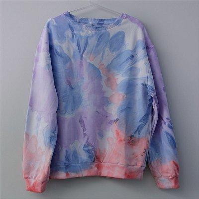Moletom Tie Dye Azul e Coral - Adulto