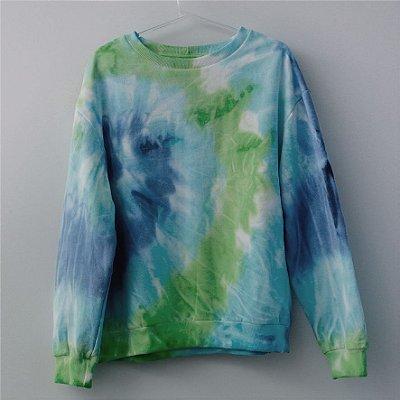 Moletom Tie Dye Azul e Verde - Adulto