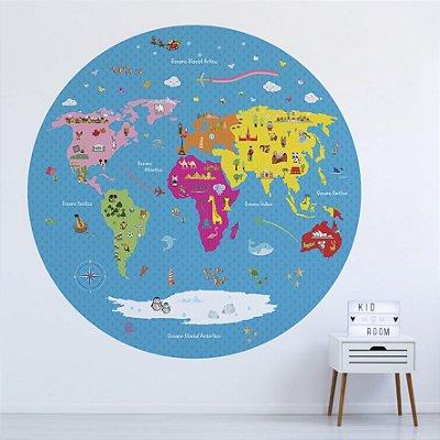 Adesivo Mapa-Múndi Redondo - Era Uma Vez