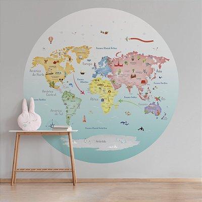 Adesivo Mapa-Múndi Redondo - Candy Countries
