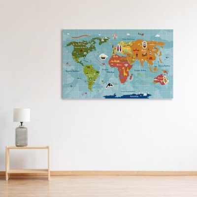 Painel Metálico Mapa-Múndi - Aventura - 50 x 80 cm