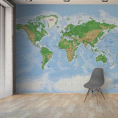 Adesivo Mapa-Múndi - Topográfico (EN-US)