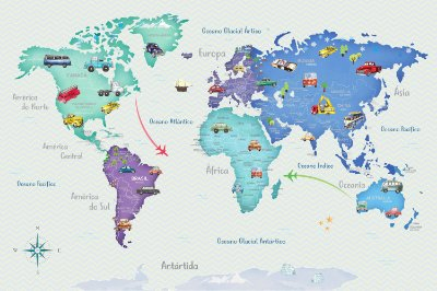 Adesivo Mapa-Múndi - Carrinhos