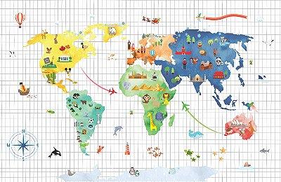 Adesivo Mapa-Múndi - Pequenos Exploradores
