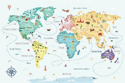 Adesivo Mapa-Múndi - Volta ao Mundo