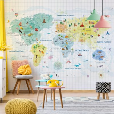 Adesivo Mapa-Múndi - Sonho em Aquarela