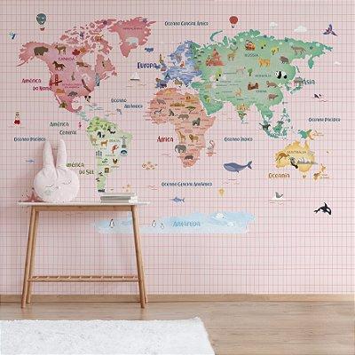 Adesivo Mapa-Múndi - Cozy World