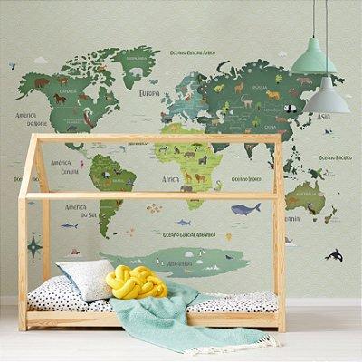 Adesivo Mapa-Múndi - Animal Planet