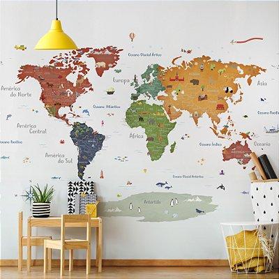 Adesivo Mapa-Múndi - Terracota