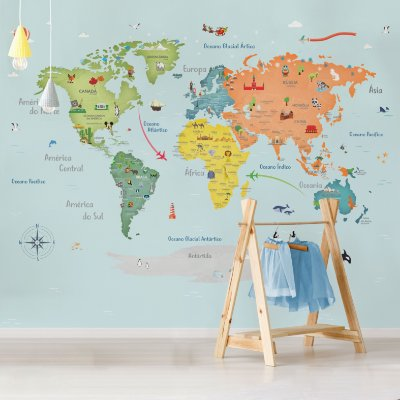 Adesivo Mapa-Múndi - Fresh