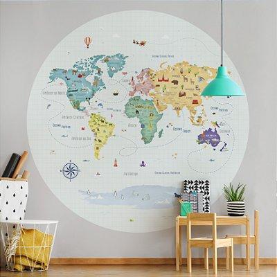 Adesivo Mapa-Múndi Redondo - Volta ao Mundo