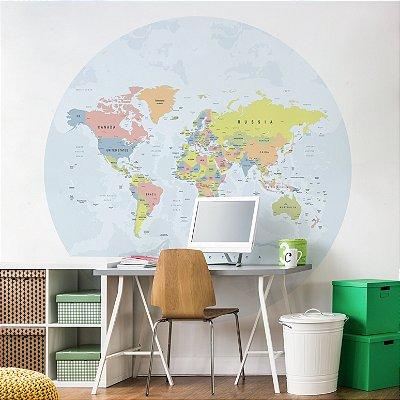 Adesivo Mapa-Múndi Redondo - A La Neon