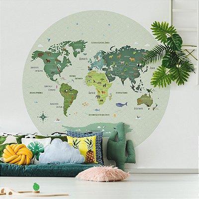 Adesivo Mapa-Múndi Redondo - Animal Planet