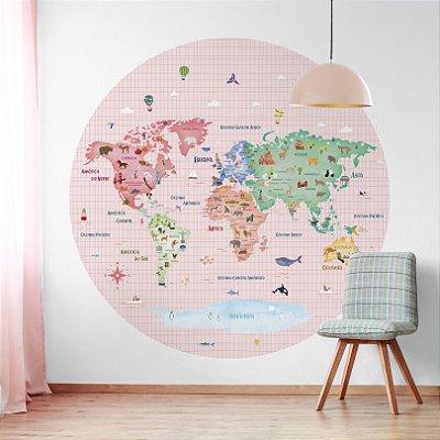 Adesivo Mapa-Múndi Redondo - Cozy World (PT-BR)