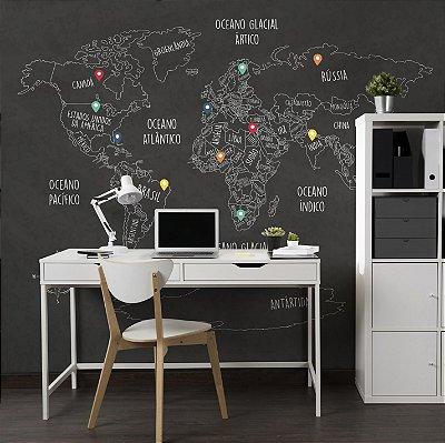 Adesivo Mapa-Múndi - Blackboard + Brinde (PT-BR)