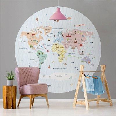 Adesivo Mapa-Múndi Redondo - Candy (PT-BR)