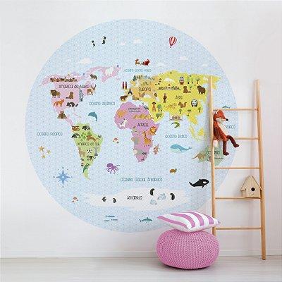 Adesivo Mapa-Múndi Redondo - My Baby (PT-BR)
