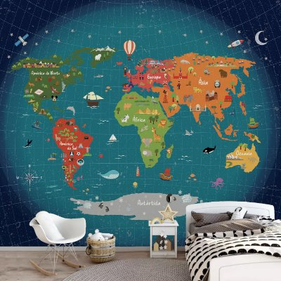 Adesivo Mapa-Múndi - Terra No Espaço (PT-BR)