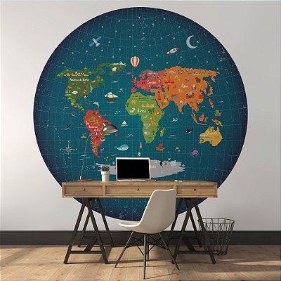 Adesivo Mapa-Múndi Redondo - Terra no Espaço  (PT-BR)