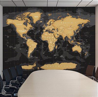 Adesivo Mapa-Múndi - Ônix (PT-BR)