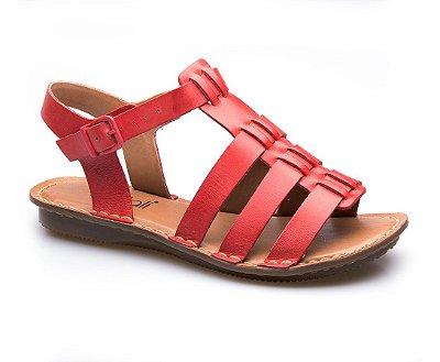 Sandália Flat Couro Vermelho