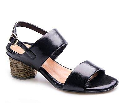 Sandália Neftali Comfort Preto/Fibra