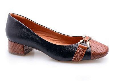 Sapato Neftali Preto/Tressê Conhaque