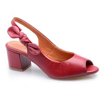 Peep Toe Conforto Nó Vermelho