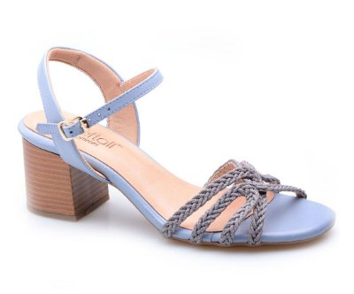 Sandália Conforto Macramê Azul Jeans