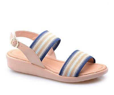 Sandália Super Conforto Elásticos Taupe