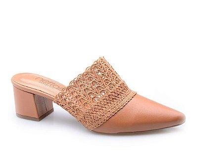 Sapato Conforto Caramelo Renda
