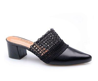 Sapato Conforto Preto Renda
